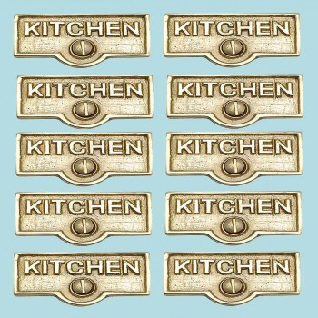 <PRE>10 Switch Plate Tags KITCHEN Name Signs Labels Solid Brass </PRE>zoom2