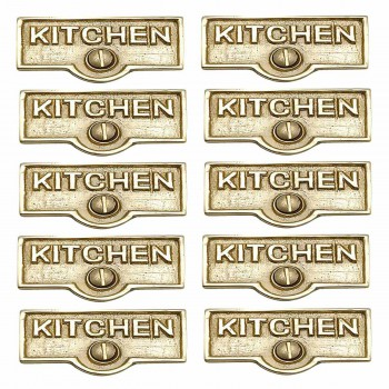 <PRE>10 Switch Plate Tags KITCHEN Name Signs Labels Solid Brass </PRE>zoom1