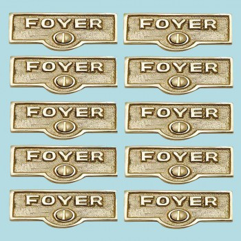 <PRE>10 Switch Plate Tags FOYER Name Signs Labels Lacquered  Brass </PRE>zoom2