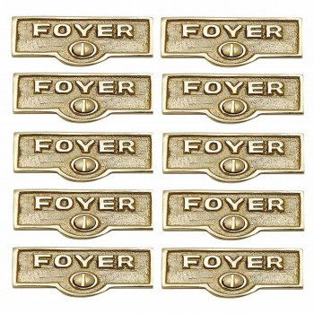 <PRE>10 Switch Plate Tags FOYER Name Signs Labels Lacquered  Brass </PRE>zoom1
