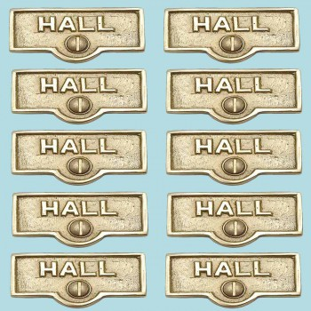 <PRE>10 Switch Plate Tags HALL Name Signs Labels Lacquered  Brass </PRE>zoom2