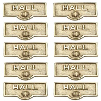 <PRE>10 Switch Plate Tags HALL Name Signs Labels Lacquered  Brass </PRE>zoom1