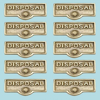 <PRE>10 Switch Plate Tags DISPOSAL Name Signs Labels Solid Brass </PRE>zoom2