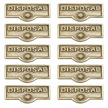 <PRE>10 Switch Plate Tags DISPOSAL Name Signs Labels Solid Brass </PRE>zoom1