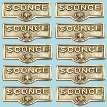 <PRE>10 Switch Plate Tags SCONCE Name Signs Labels Lacquered Brass </PRE>zoom2