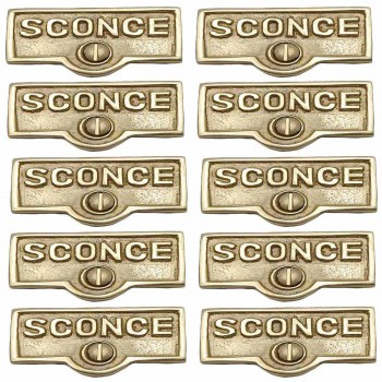 <PRE>10 Switch Plate Tags SCONCE Name Signs Labels Lacquered Brass </PRE>zoom1
