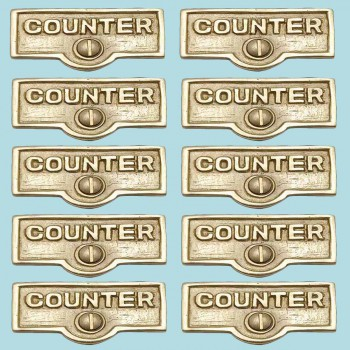 <PRE>10 Switch Plate Tags COUNTER Name Signs Labels Lacquered Brass </PRE>zoom2