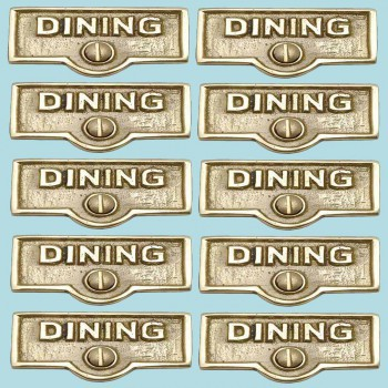 <PRE>10 Switch Plate Tags DINING Name Signs Labels Lacquered Brass </PRE>zoom2