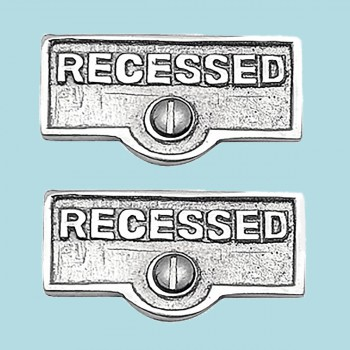 <PRE>2 Switch Plate Tags RECESSED Name Signs Labels Chrome Brass </PRE>zoom2
