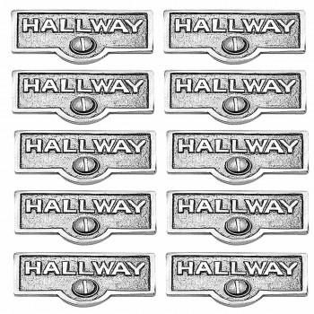10 Switch Plate Tags HALLWAY Name Signs Labels Chrome Brass Switch Plate Labels Switch Plate ID Labels Switch Plate Label