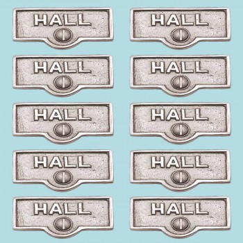 <PRE>10 Switch Plate Tags HALL Name Signs Labels Chrome Brass </PRE>zoom2