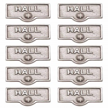 <PRE>10 Switch Plate Tags HALL Name Signs Labels Chrome Brass </PRE>zoom1
