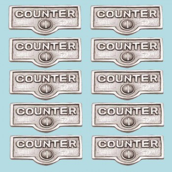<PRE>10 Switch Plate Tags COUNTER Name Signs Labels Chrome Brass </PRE>zoom2