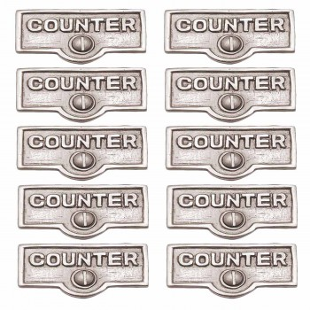 <PRE>10 Switch Plate Tags COUNTER Name Signs Labels Chrome Brass </PRE>zoom1