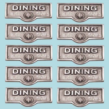 <PRE>10 Switch Plate Tags DINING Name Signs Labels Chrome Brass </PRE>zoom2