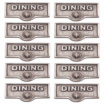 <PRE>10 Switch Plate Tags DINING Name Signs Labels Chrome Brass </PRE>zoom1