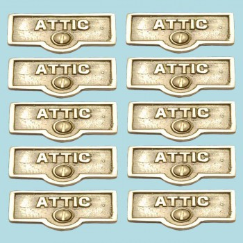 <PRE>10 Switch Plate Tags ATTIC Name Signs Labels Lacquered Brass </PRE>zoom2