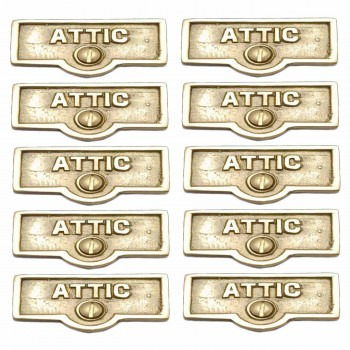 <PRE>10 Switch Plate Tags ATTIC Name Signs Labels Lacquered Brass </PRE>zoom1
