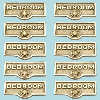 spec-<PRE>10 Switch Plate Tags BEDROOM Name Signs Labels Lacquered Brass </PRE>