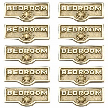 <PRE>10 Switch Plate Tags BEDROOM Name Signs Labels Lacquered Brass </PRE>zoom1