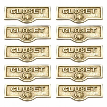 <PRE>10 Switch Plate Tags CLOSET Name Signs Labels Lacquered Brass </PRE>zoom1