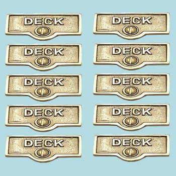 spec-<PRE>10 Switch Plate Tags DECK Name Signs Labels Lacquered Brass </PRE>