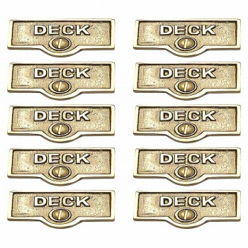 <PRE>10 Switch Plate Tags DECK Name Signs Labels Lacquered Brass </PRE>zoom1