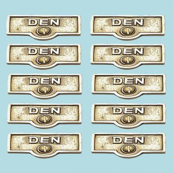 <PRE>10 Switch Plate Tags DEN Name Signs Labels Lacquered Brass </PRE>zoom2