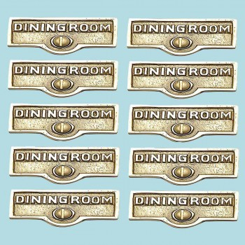 <PRE>10 Switch Plate Tags DINGING ROOM Name Signs Labels Brass </PRE>zoom2