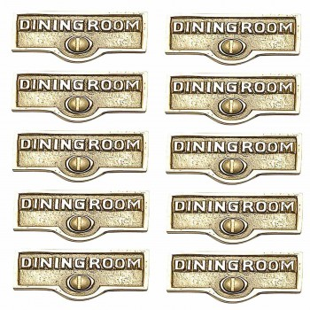 <PRE>10 Switch Plate Tags DINGING ROOM Name Signs Labels Brass </PRE>zoom1
