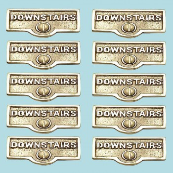<PRE>10 Switch Plate Tags DOWNSTAIRS Name Signs Labels Brass </PRE>zoom2