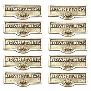 <PRE>10 Switch Plate Tags DOWNSTAIRS Name Signs Labels Brass </PRE>zoom1