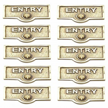 <PRE>10 Switch Plate Tags ENTRY Name Signs Labels Lacquered Brass </PRE>zoom1
