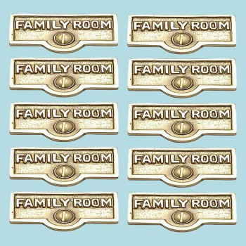 10 Switch Plate Tags FAMILY ROOM Name Signs Labels Brass Switch Plate Labels Switch Plate ID Labels Switch Plate Label
