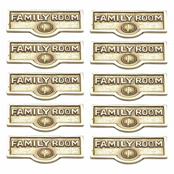 <PRE>10 Switch Plate Tags FAMILY ROOM Name Signs Labels Brass </PRE>zoom1