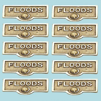 <PRE>10 Switch Plate Tags FLOODS Name Signs Labels Lacquered Brass </PRE>zoom2