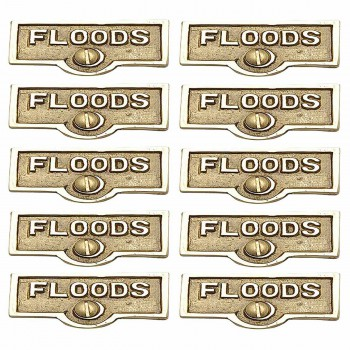 10 Switch Plate Tags FLOODS Name Signs Labels Lacquered Brass