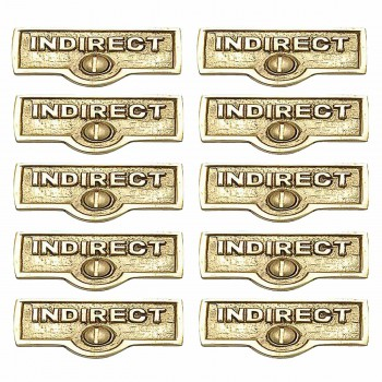 <PRE>10 Switch Plate Tags INDIRECT Name Signs Labels Brass </PRE>zoom1