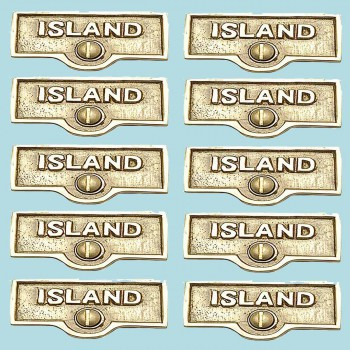 <PRE>10 Switch Plate Tags ISLAND Name Signs Labels Lacquered Brass </PRE>zoom2