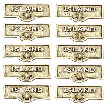 <PRE>10 Switch Plate Tags ISLAND Name Signs Labels Lacquered Brass </PRE>zoom1