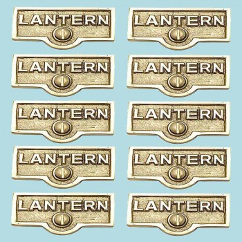 spec-<PRE>10 Switch Plate Tags LANTERN Name Signs Labels Lacquered Brass </PRE>