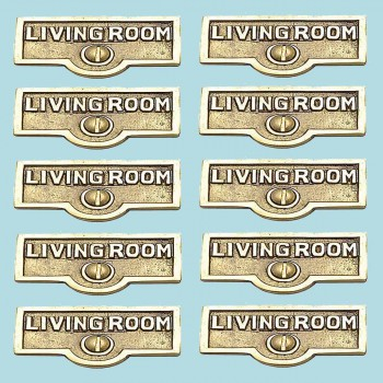 <PRE>10 Switch Plate Tags LIVING ROOM Name Signs Labels  Brass </PRE>zoom2