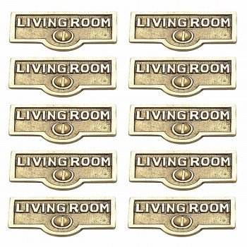 10 Switch Plate Tags LIVING ROOM Name Signs Labels  Brass Switch Plate Labels Switch Plate ID Labels Switch Plate Label