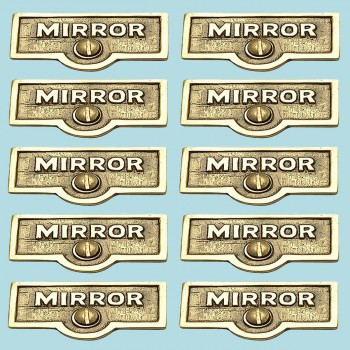 <PRE>10 Switch Plate Tags MIRROR Name Signs Labels Lacquered Brass </PRE>zoom2