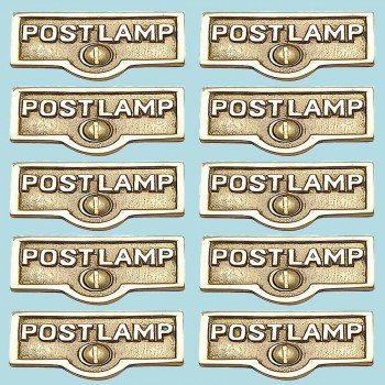 <PRE>10 Switch Plate Tags POST LAMP Name Signs Labels Brass </PRE>zoom2