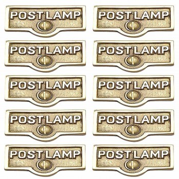 <PRE>10 Switch Plate Tags POST LAMP Name Signs Labels Brass </PRE>zoom1