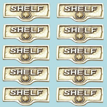 <PRE>10 Switch Plate Tags SHELF Name Signs Labels Lacquered Brass </PRE>zoom2
