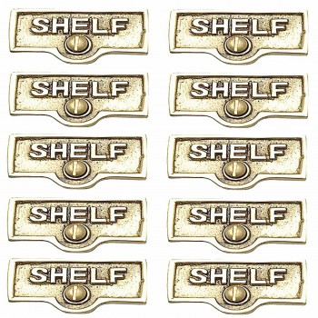 <PRE>10 Switch Plate Tags SHELF Name Signs Labels Lacquered Brass </PRE>zoom1