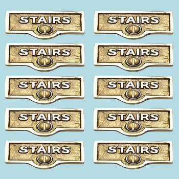 <PRE>10 Switch Plate Tags STAIRS Name Signs Labels Lacquered Brass </PRE>zoom2
