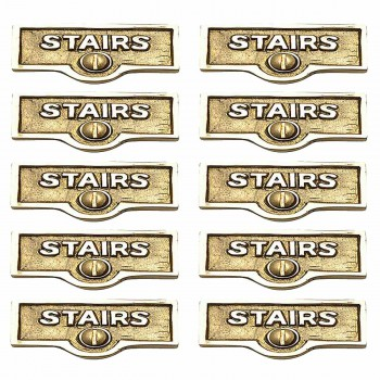 <PRE>10 Switch Plate Tags STAIRS Name Signs Labels Lacquered Brass </PRE>zoom1
